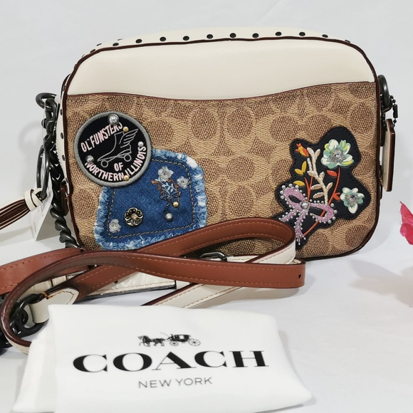 Coach Camera Bag In Signature Canvas With Rivets